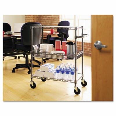 Alera® Three-Tier Rolling Cart in Black