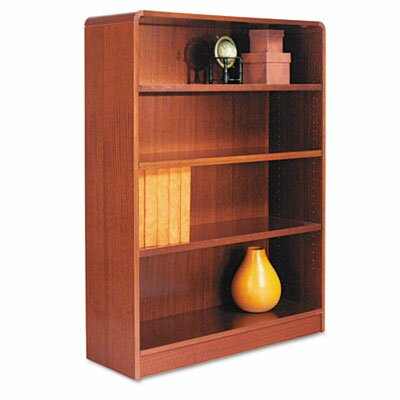 Alera® Radius Corner Bookcase, Finished Back, Wood Veneer, 4-Shelf, 36x12x48