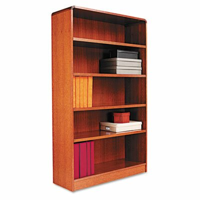 Alera® Radius Corner Bookcase, Finished Back, Wood Veneer, 5-Shelf, 36x12x60, Med. Oak