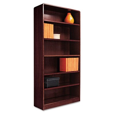 Alera® Radius Corner Bookcase, Finished Back, Wood Veneer, 6-Shelf, 36x12x72, Mahogany