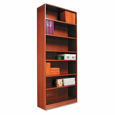 Alera® Radius Corner Bookcase, Finished Back, Wood Veneer, 7-Shelf, 36x12x84, Med. Oak