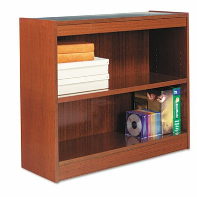 Alera® Square Corner Bookcase, Finished Back, Wood Veneer, 2-Shelf, 36x12x30, Cherry