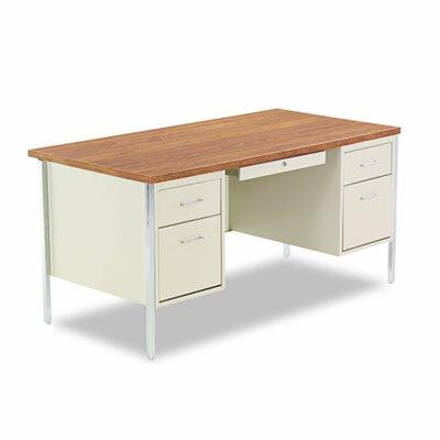 "Alera® 60"" Double Pedestal Steel Computer Desk"