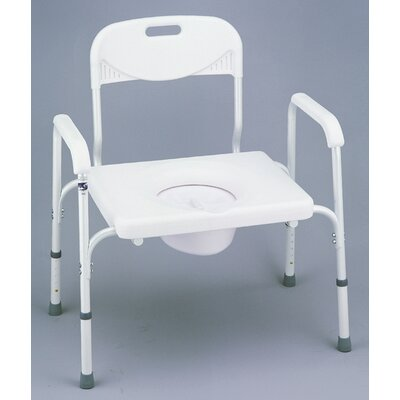 Heavy Duty Commode with Back and Extra Wide Seat