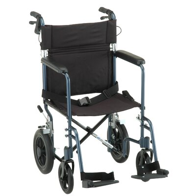 Nova Ortho-Med, Inc. 19&quot; Lightweight Aluminum Transport Chair with Hand Brake and Swing Away Footrest