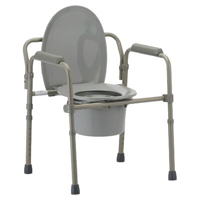 Folding Commode with Elongated Seat