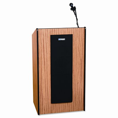AmpliVox Sound Systems Adjustable Presidential Plus Lectern, 25-1/2w x 20-1/2d x 36 to 44h, Medium Oak
