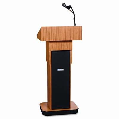 AmpliVox Sound Systems Presidential Plus Adjustable Wireless Column Lectern, 20 x 13 x 46-1/2, Med Oak