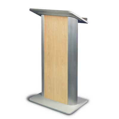 AmpliVox Sound Systems Hardrock Maple Lectern with Satin Anodized Aluminum