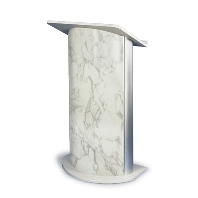 AmpliVox Sound Systems Bianco Marble Lectern with Satin Anodized Aluminum-Curved Lectern