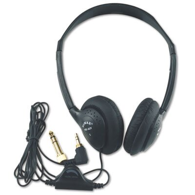 AmpliVox Sound Systems Personal Multimedia Stereo Headphones with Volume Control, Black
