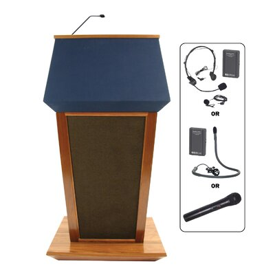 AmpliVox Sound Systems Wireless Patriot Lectern in Natural Walnut