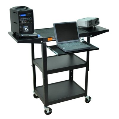 AmpliVox Sound Systems Adjustable Height Cart in Black