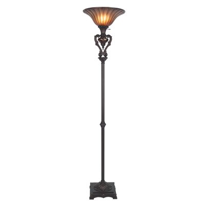 cal lighting torchiere floor lamp with glass shade reviews wayfair. Black Bedroom Furniture Sets. Home Design Ideas