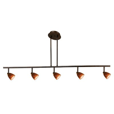 Serpentine Five Light Track Light with Amber Swirl Glass in Rust