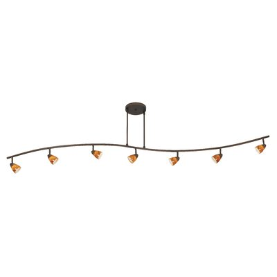 Cal Lighting Serpentine 7 Light Track Light with Swirl Glass