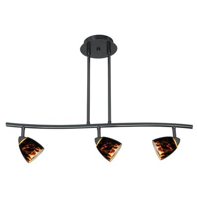 Serpentine Three Light Track Light with Brown Spot Glass in Dark Bronze