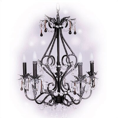 Living Well Italian Stone 5 Light Chandelier with Crystal Drops