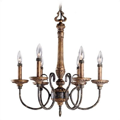 Romand Bronze 6 Light Chandelier