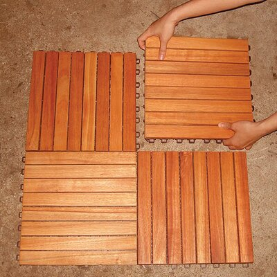"Vifah Eucalyptus 12"" x 12"" Interlocking Deck Tiles"