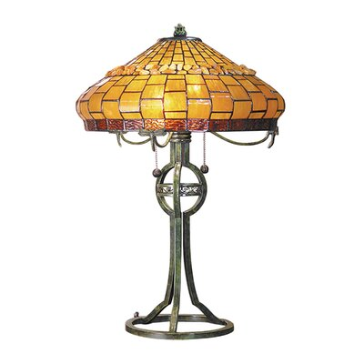 Dale Tiffany Grundy Two Light Table Lamp in Antique Bronze