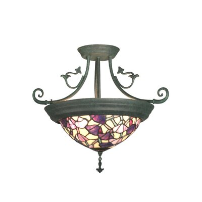 Dale Tiffany Pink Floral 4 Light Semi Flush Mount