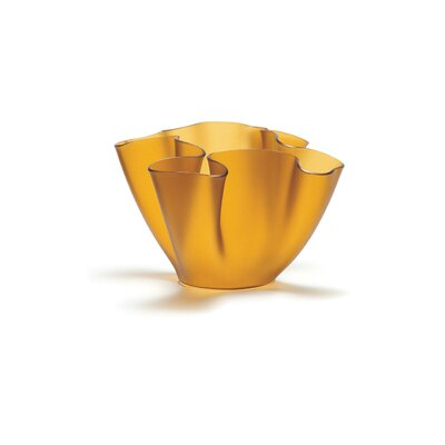 FontanaArte Cartoccio Vase Frosted Glass in Yellow