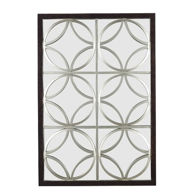 Kenroy Home Gable Wall Mirror in Walnut with Silver Trellis
