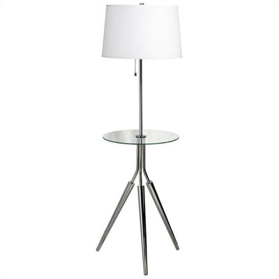 "Kenroy Home Rosie 56"" Floor Lamp with Glass Tray in Chrome"