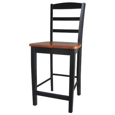 "International Concepts Madrid 24"" Counter Height Stool in Black / Cherry"