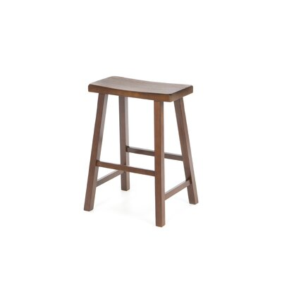 International Concepts 24&quot; Saddleseat Counter Stool (Distressed Walnut)