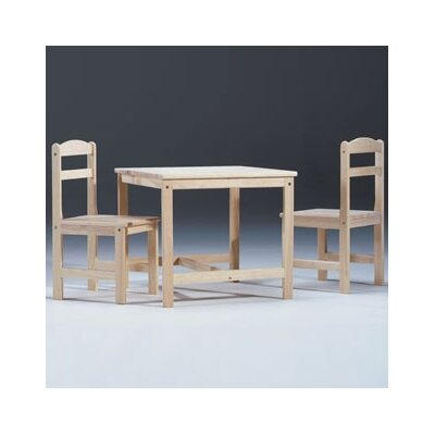 International Concepts Unfinished Wood Kids' 3 Piece Table and Chair Set