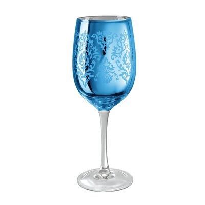 Brocade Wine Glass in Blue (Set of 4)
