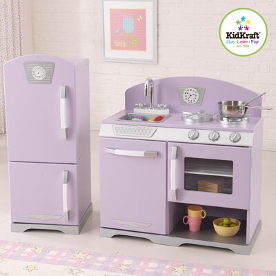 KidKraft 2 Piece Retro Personalized Kitchen and Refrigerator Set