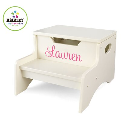 KidKraft Personalized Step N' Store Stool in Vanilla