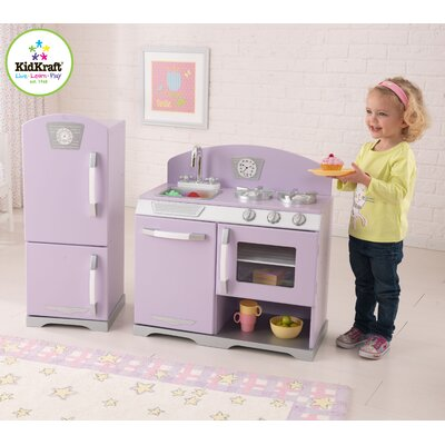 kidkraft retro kids personalized kitchen and refrigerator play set