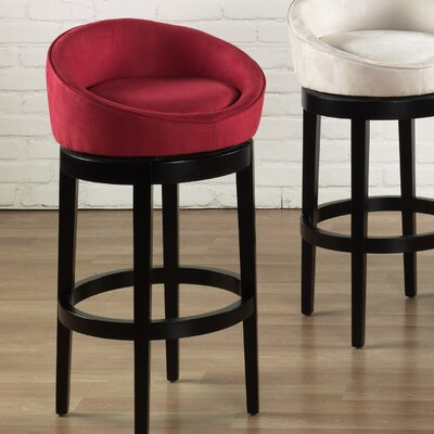 Armen Living Igloo Microfiber Swivel Barstool in Red