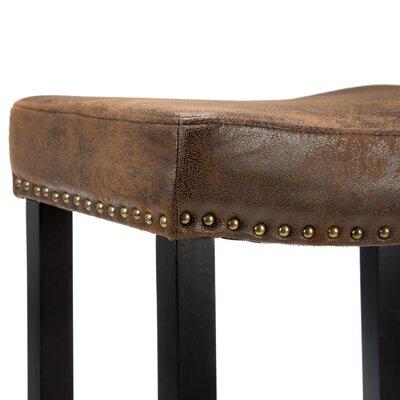 Armen Living Tudor Wrangler Backless Barstool in Brown
