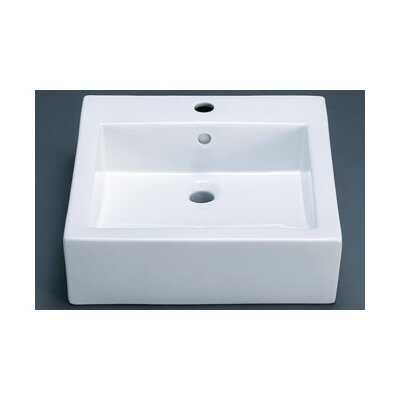 Ronbow Square Ceramic Vessel Sink with Overflow in White