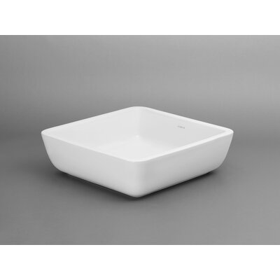 Ronbow Ceramic Square Vessel Bathroom Sink without Overflow
