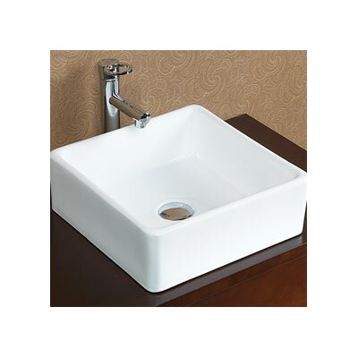 Square Tapered Ceramic Vessel Bathroom Sink without Overflow - 200034-WH