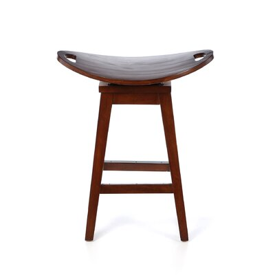 "Carolina Accents Thoroughbred 26.75"" Backless Swivel Counter Stool in Cherry"