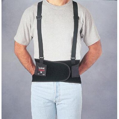 "Allegro Spanbak® Black 9"" Back Support W/Suspenders Size Large 40"" To 44"""