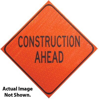 American Allsafe Marathon Fluorescent Roll-Up Sign Road Work Ahead