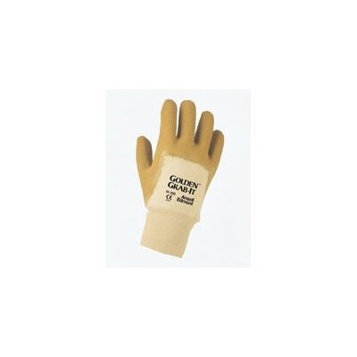 Ansell 10 Men's Golden Grab-It® Rubber Palm Coated Glove With Crinkle Finish And Knitwrist