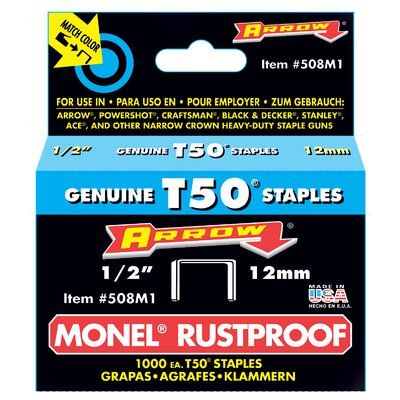 "Arrow Fastener 1/2"" Monel T50 Rustproof Staples"
