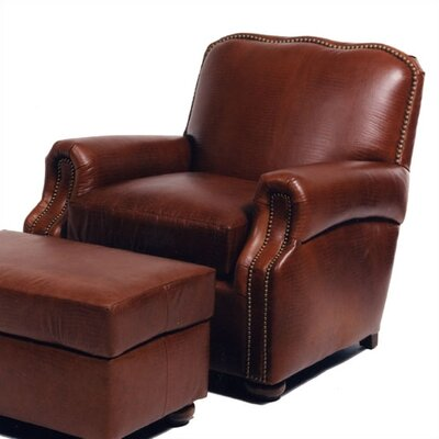 Alligator Leather Chair and Ottoman