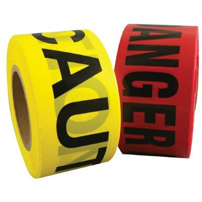 "Berry Plastics Barrier Safety Tapes - 3""x1000' danger tape redw/blk lettering"