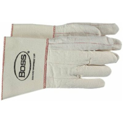 Boss Manufacturing Company Gauntlet Cuff Cotton Chore Gloves - white double palm nap out glove rubberized