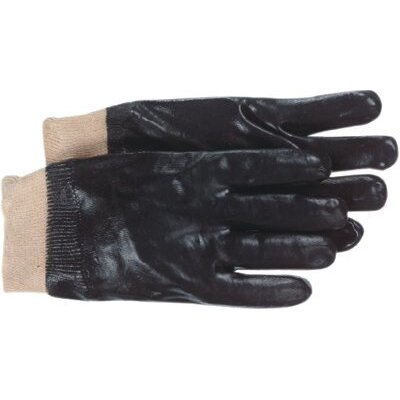 "Boss Manufacturing Company Interlock Lined Black PVC Coated Gloves - full coated black pvc 12"" smooth grip glove"